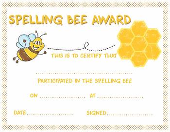 Spelling Bee Award Certificate Spelling Bee Award Certificate