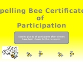 Spelling Bee Participation Certificate
