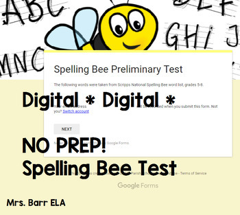 Spelling Bee Test *Digital* *Google Form* *No Prep*