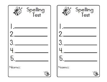 Spelling Bee Test Formats Exam Sheet 5 words