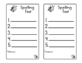 Spelling Bee Test Formats Exam Sheet 5 words