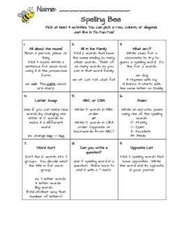 Spelling Bee Tic Tac Toe
