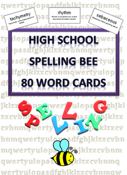 Spelling Bee Word Cards (80) for High School: Run a Spelling Bee Competition