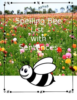 Spelling Bee Words with Sentences