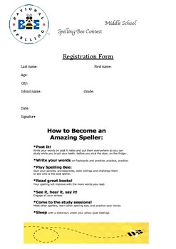 Spelling Bee contest - registration form