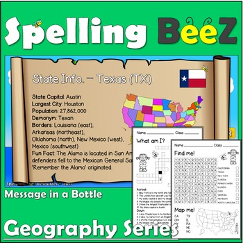 Geography Game & Printables (U.S. States 50-word Bundle)