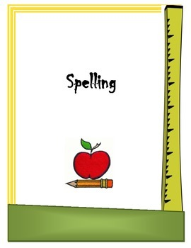 Spelling Binder Cover Sheet