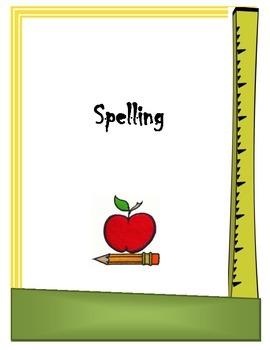 Spelling Binder Cover Sheet