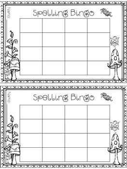 Spelling Bingo - Blank - Printer Friendly - Seasonal - Print and Go