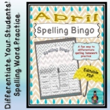 Spelling Bingo for April ~ Editable PDF ~ Word Work Station or Homework