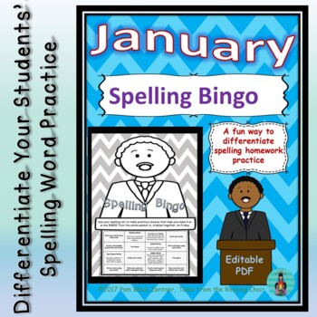 Spelling Bingo for January ~ Editable PDF ~ Word Work Station or Homework