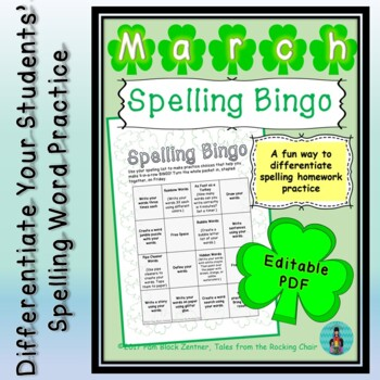Spelling Bingo for March ~ Editable PDF ~ Word Work Station or Homework