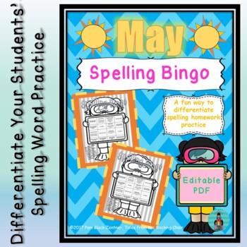 Spelling Bingo for May ~ Editable PDF ~ Word Work Station or Homework
