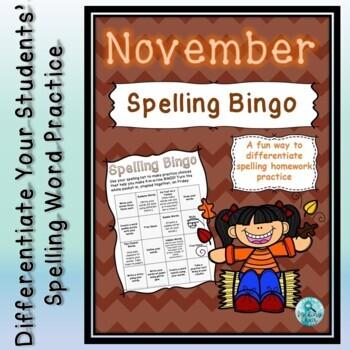 Spelling Bingo for November ~ Editable ~ Word Work Station or Homework
