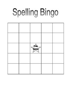 Spelling Bingo Template