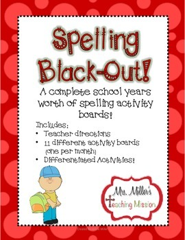 Spelling Black-Out Years worth of NO PREP  Differentiated Spelling Homework