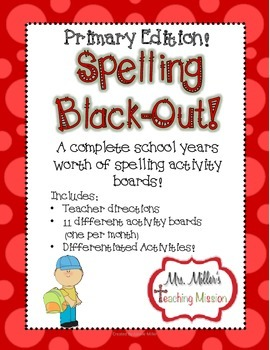 Spelling Black-Out Years worth of NO PREP  Primary Spelling Homework