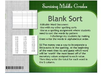 Spelling Blank Sort