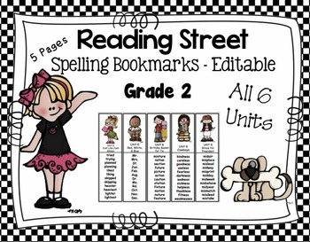 Spelling Bookmarks - Reading Street Scott Foresman - Editable Grade 2