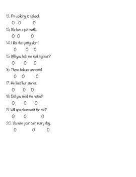 Spelling Bubble Test