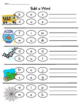 CVC, CVCe, Digraphs Spelling Build a Word Packet