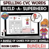 Spelling CVC Words BOOM Cards™ BUNDLE - Short Vowels - Build A Superhero Game