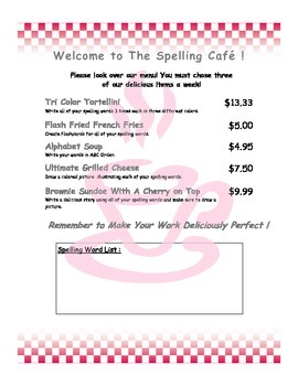 Spelling Cafe - Spelling Menu for Homework or Daily 5