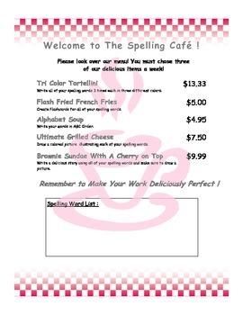 Spelling Cafe - Spelling Menu for Homework or Daily 5
