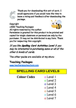 Spelling Card Activities Level 2