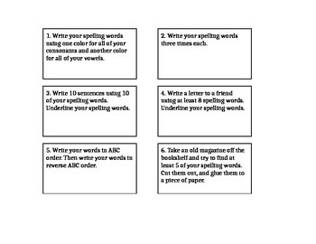 Spelling Cards