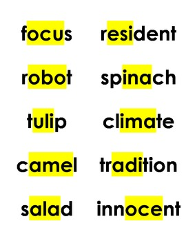 Spelling Cards Unit 2, Lessons 1-5