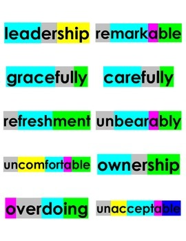 Spelling Cards Unit 6, Lessons 1-5