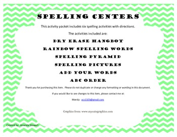 Spelling Center Activities