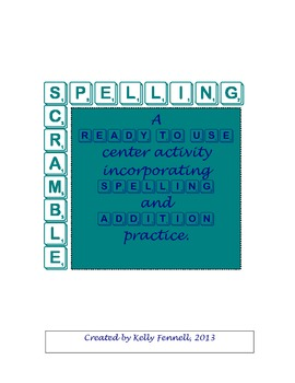 Spelling Center Scramble Activity