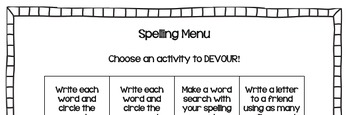 Spelling Center Sheet, Homework, Group Work Menu of Choice for Differentiation