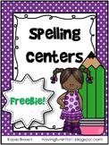 Spelling Center Work FREE