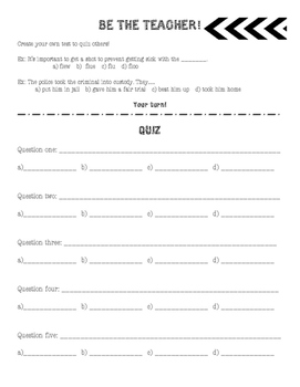 Spelling Centers - Make a Quiz