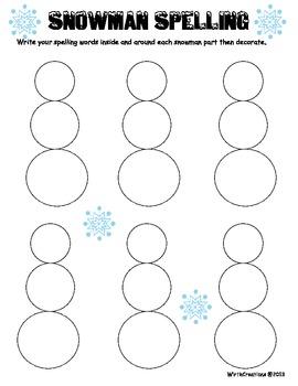 Spelling Centers-Snowman Spelling