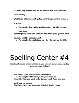 Spelling Centers for Middle School
