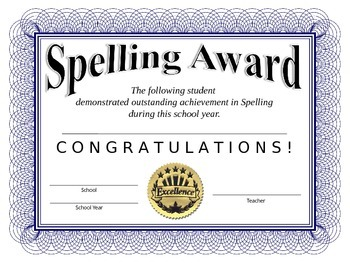 Spelling Certificate