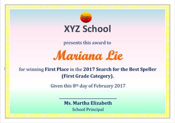 Spelling Certificate Template