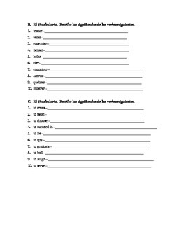 Spelling Change Verb Review