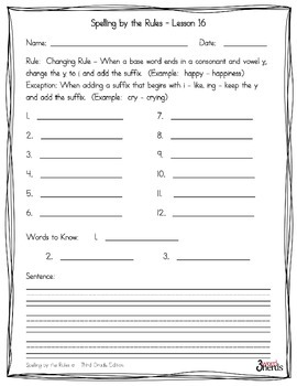 Spelling - Changing Rule - Third Grade