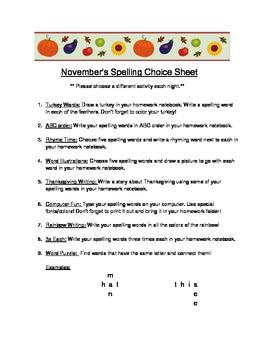 Spelling Choice Activity Sheet - November