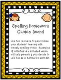 Spelling Homework Choice Board
