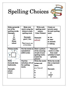 Spelling Choice Board