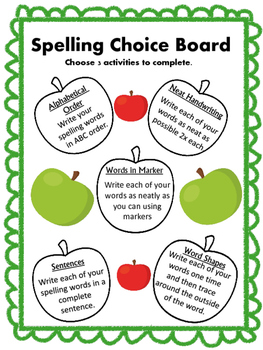 Spelling Choice Board spelling practice assessment