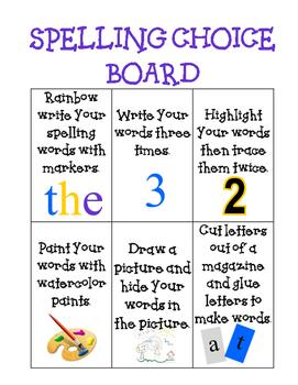 Spelling Choice Board