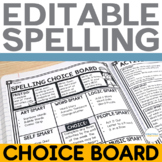 Spelling Activities Choice Board and Task Cards