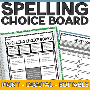 spelling choice board by it happened in 3rd teachers pay teachers. Black Bedroom Furniture Sets. Home Design Ideas